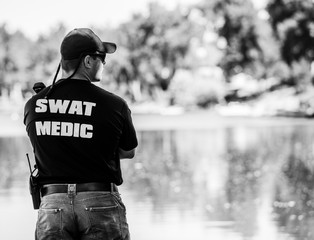 SWAT Medic on Duty and on a Call in Black & White Photo