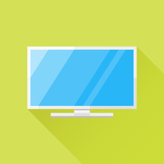 White computer monitor or television flat icon