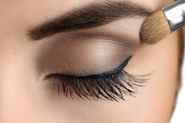 Makeup close-up. Eyebrow makeup, brush.