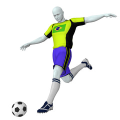 Football / soccer player in action - Brazil - isolated on white background, high res 3D render - - - Fußballspieler in Aktion - Brasilien - 3D, freigestellt auf weißem Hintergrund, hohe Auflösung