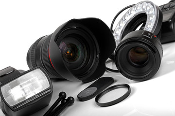 professional photo equipment on white background
