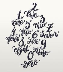 Alphabet numbers, hand-drawn doodle sketch. Vector Eps10 illustr