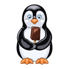 Joyful penguin holds chocolate ice cream in his wings