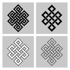 The Endless Knot. Sacred symbol of the rebirth's concatenation in the Buddhism. Stock vector, separated background.