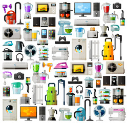 Appliances a set of colored icons. Collection of items - TV