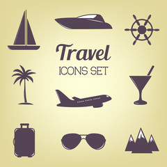 Travel icon set. Vector illustration. Design elements collection.
