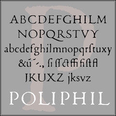 Classic font of the Venetian typographer, in its original, worn form. Renaissance period. Supplemented with characters which was not used in that age. Vector, isolated background.