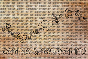 gearwheels on binary code, concept of coding & developing