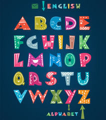 Cute alphabet letters with hand drawn pattern