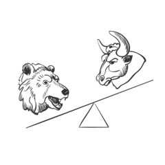 bull and bear financial doodle icons