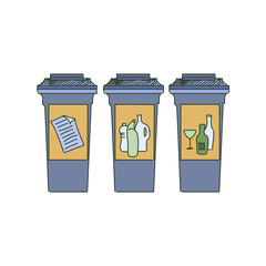 Colored doodle Recycle bins, garbage separation