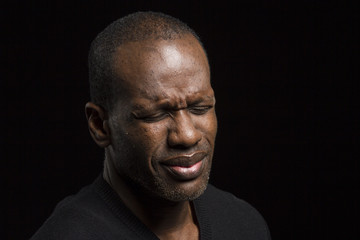 Portrait of a troubled black male
