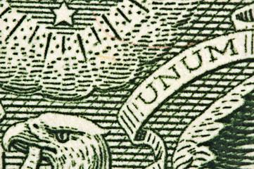 one-dollar bill, Head of an eagle a word UNUM. Macro