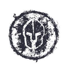 grunge spartan helmet, round emblem, vector illustration, eps10