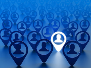 Find friend, hire employee or choice person concept. Avatars of people social network accounts with the chosen one on blue background