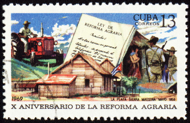 Scene from country life on post stamp