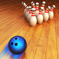 Bowling game illustration and strike concept, moving bowling ball and animated cartoon skittles on wooden floor background