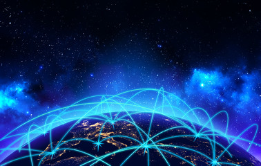 Global network connection and business communication concept, earth globe night view with connect lines on deep blue space background