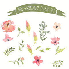 Pink watercolor vector floral set