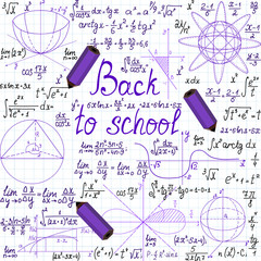 """Vector seamless """"Back to school"""" with math figures and pencils"""