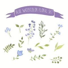 Blue watercolor vector floral set
