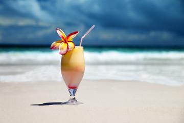 fresh fruit juice on a tropical beach