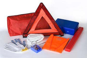 Emergency car kit on white background