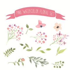 Pink watercolor vector floral set