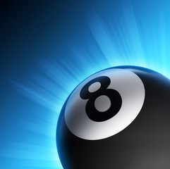Billiard eight ball, snooker pool icon with shining rays of lights on blue background