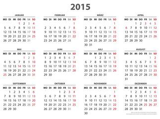 Jahresplaner 2015 Querformat, Feiertage für 16 Bundesländer in AI-Format