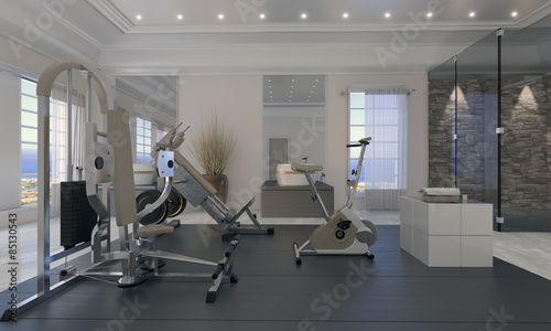 salle de sport priv e photo libre de droits sur la banque d 39 images image 85130543. Black Bedroom Furniture Sets. Home Design Ideas