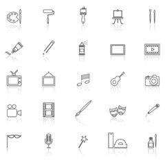 Art line icons with reflect on white