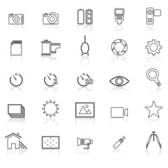 Camera line icons with reflect on white
