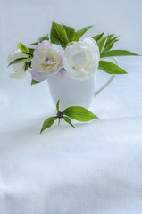 Bouquet of white peonies in vase on background of linen tablecloth.