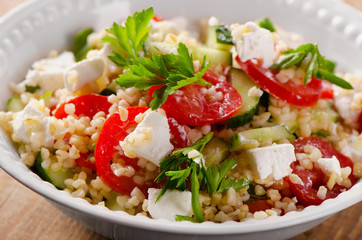 Gluten free vegetarian salad  with a feta.