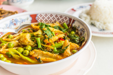 Curry fish healthy food