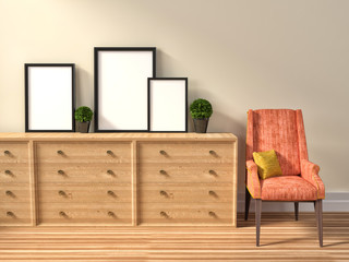 mockup of blank three frame poster and chair. 3d illustration