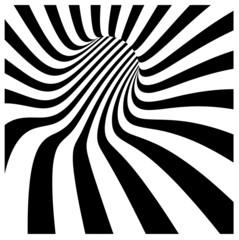 tunnel vortex in concentric black and white stripes