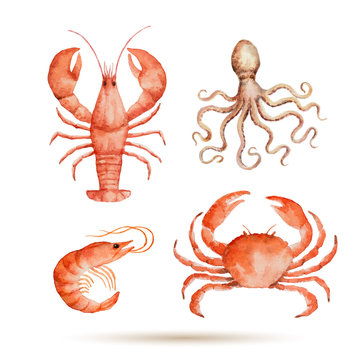 Watercolor set of seafood.