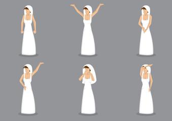 Bride in Wedding Dress Vector Cartoon Illustration