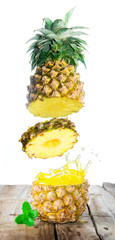 Tasty tropical pineapple slices juice burst