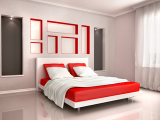 3d illustration of interior of modern bedroom in red and gray to