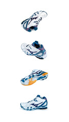 sports shoes from different angles isolated on white