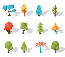 Wall Mural - Tree low poly icons, vector isometric 3D