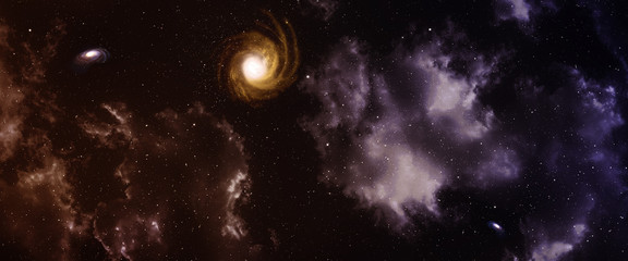 Space panorama with nebula and galaxy.