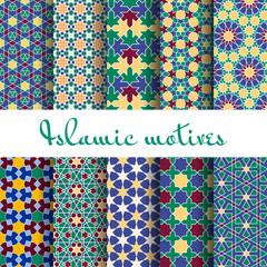 Wall Mural - Arab spring seamless pattern set