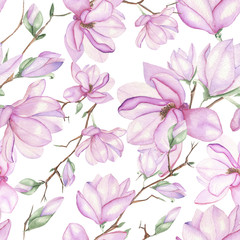 Seamless floral pattern with magnolias painted with watercolors on white background