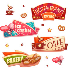 Vector set of brightly banners for cafe, bakery, ice cream shop