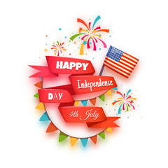 Happy independence day banner. Red ribbon with title. Vector