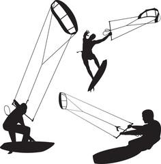vector kitesurfers in various poses
